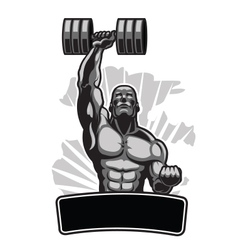 Body Builder with Barbell vector