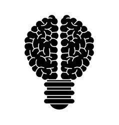 Brain bulb inspiration creativity silhouette vector