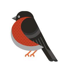 Bullfinch bird geometric icon in flat design vector