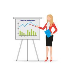 businesswoman making flip chart presentation vector image