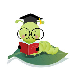Cartoon caterpillar worm wearing graduation mortar vector