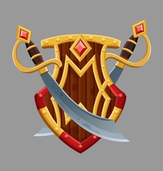 Cartoon red shield2 vector image