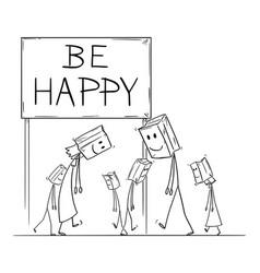 cartoon sad and depressed people walking vector image