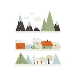 cartoon winter landscape with housesmountains and vector image