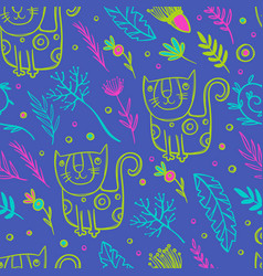 cat pattern floral seamless background vector image