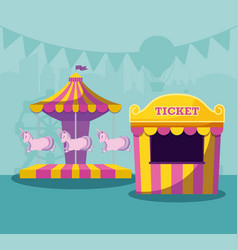 circus tent sale ticket with carousel of unicorns vector image