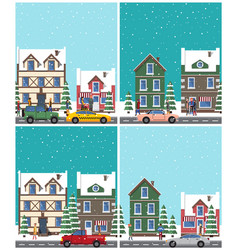 Cityscape collection of poster vector