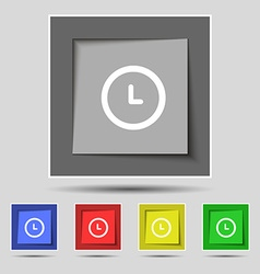 clock icon sign on original five colored buttons vector image