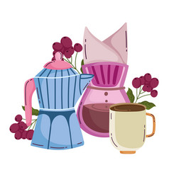 Coffee brewing methods moka pot drip coffee maker vector
