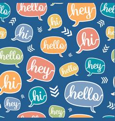 Colorful hello speech bubble seamless vector