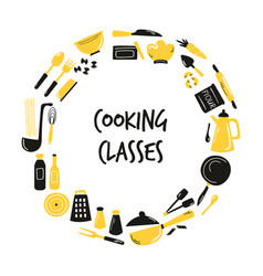 Cooking hand drawn abstract design with kitchen vector