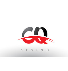 Cq c q brush logo letters with red and black vector