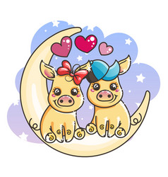 Cute cartoon golden baby pigs in love on a moon vector