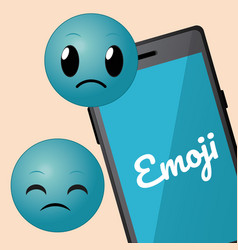 Cute emojis with smartphone cartoons vector