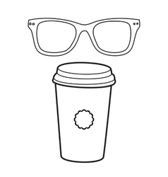 Doodle coffee cup and eye glasses hand vector