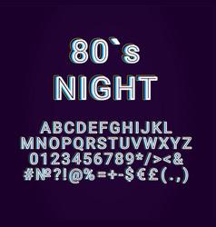 Eighties night vintage 3d alphabet set vector