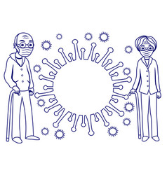 elderly couple and a sign virus vector image