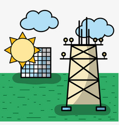 Energy tower and solar energy with clouds vector