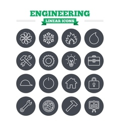 Engineering linear icons set Thin outline signs vector image