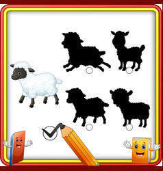 find the correct shadow cartoon funny sheep educ vector image