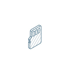 Flash memory sd card isometric icon 3d line art vector