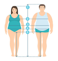 flat style overweight man and women in full length vector image