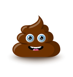 funny and cute poop character placed on white vector image