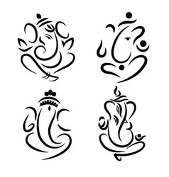 Ganesha om symbol tattoo icon vector