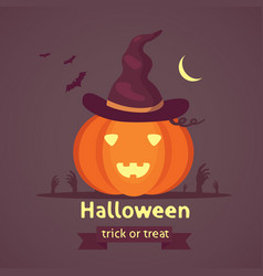 Halloween pumpkin with cute face on dark vector