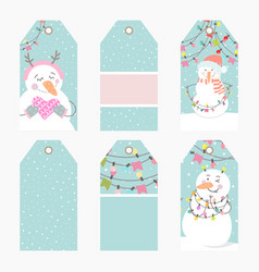 hand drawn creative christmas tags vector image