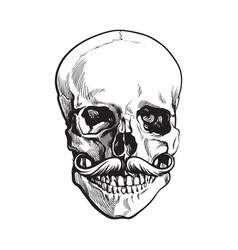 hand drawn human skull with curled upward hipster vector image