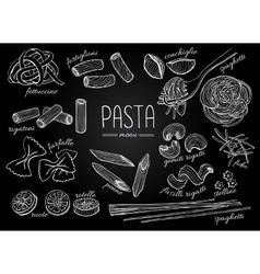 hand drawn pasta menu Vintage chalkborad vector image