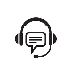 headphone and speech bubble - black icon on white vector image