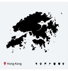 High detailed map hong kong with navigation vector