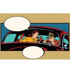 Husband and wife quarrel in the car vector