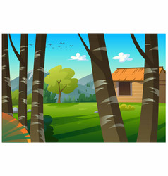 hut is in a beautiful natural forest vector image