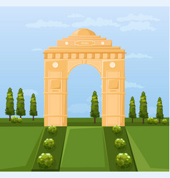 india famous gateway attraction summer vector image