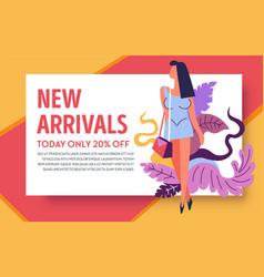 Internet store new arrivals promo web banner vector