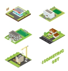 Isometric buildings icons set vector image