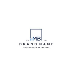Letter mb square logo finance design vector
