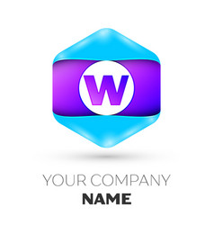 letter w logo symbol in colorful hexagonal vector image