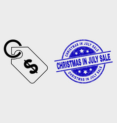 line price tag icon and scratched christmas vector image