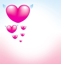 Love heart pink background vector image
