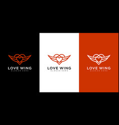 love wing logo design line style vector image
