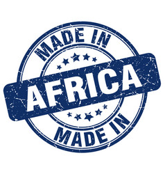 made in africa blue grunge round stamp vector image