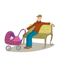 Man with child in pram sitting on a park bench vector