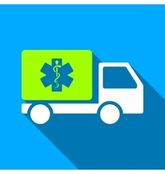 Medical Shipment Car Flat Long Shadow Square Icon vector