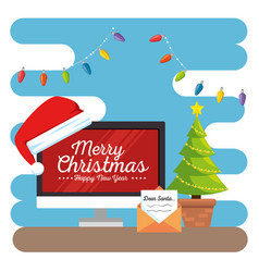 Merry christmas decorated workplace office vector