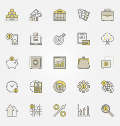 money and investment colorful icons vector image