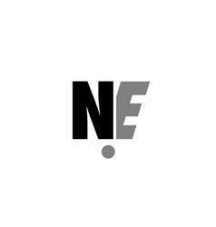 Ne n e black white grey alphabet letter logo icon vector